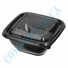 Plastic PET black containers 375ml 126*126*51mm for salad with a transparent lid 50 pieces