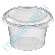 Plastic containers   450ml   Ǿ=113mm h=70mm   transparent   with lid   for cold dishes   200 pieces per package