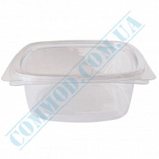 Plastic PET transparent containers 500ml 144*147*56mm for salad with a transparent hinged lid 50 pieces