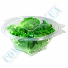 Plastic PET transparent containers 500ml 152*70*84mm for salad with a transparent hinged lid 50 pieces