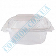 Plastic PET transparent containers 650ml 144*147*76mm for salad with a transparent hinged lid 50 pieces