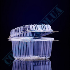 Plastic PET transparent containers 700ml 100*130*78mm for salad with a transparent hinged lid 50 pieces