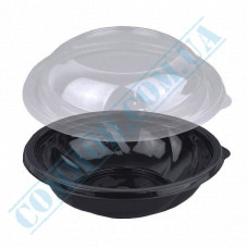 Plastic PET black containers 750ml Ǿ=194mm h=55mm for salad with a transparent lid 75 pieces