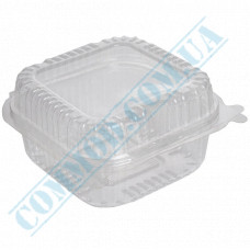 Plastic containers   860ml   130*130*68mm   transparent   with lid   for cold dishes   100 pieces per pack