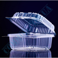 Plastic PET transparent containers 1000ml 130*130*90mm for salad with a transparent hinged lid 100 pieces