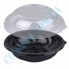Plastic PET black containers 1000ml Ǿ=194mm h=65mm for salad with a transparent lid 75 pieces