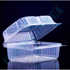 Plastic PET transparent containers 1200ml 130*170*78mm for salad with a transparent hinged lid 100 pieces