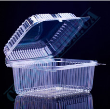 Plastic PET transparent containers 1300ml 130*170*80mm for salad with a transparent hinged lid 100 pieces