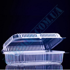 Plastic PET transparent containers 1500ml 130*230*68mm for salad with a transparent hinged lid 100 pieces