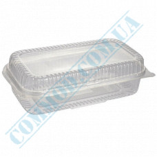 Plastic containers   1600ml   130*230*68mm   transparent   with lid   for cold dishes   100 pieces per pack