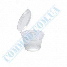 Sauce bowls 10ml round PP for cold and hot transparent with hinged lid 80 pieces (lid closes inward)
