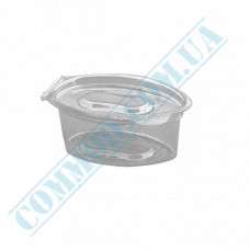 Sauce bowls 30ml oval PET only for cold transparent with hinged lid 100 pieces
