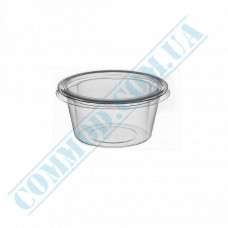 Plastic PP sauce bowls   60ml   translucent   for cold and hot   round   with separate outer cover   100 pieces per pack