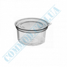 Plastic sauce boats PS   50ml   transparent   only for cold   round   with separate inner cover   100 pieces per pack
