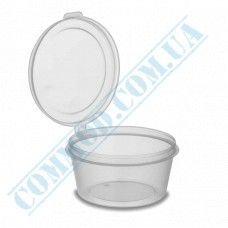 Sauce bowls 80ml round PET for cold only transparent with hinged lid 80 pieces