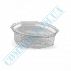 Sauce bowls 90ml oval PET for cold use only transparent with hinged lid 100 pieces