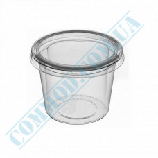 Plastic PP sauce bowls   100ml   translucent   for cold and hot   round   with separate outer cover   100 pieces per pack