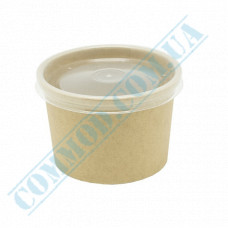 Paper containers | 250ml | Ǿ=95mm h=65mm | Craft | with PP lid | for hot and cold meals| 25 pieces per pack