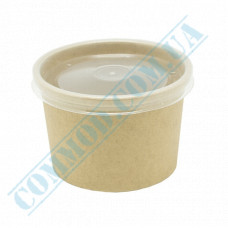 Paper containers | 340ml | Ǿ=95mm h=70mm | Craft | with PP lid | for hot and cold meals| 25 pieces per pack
