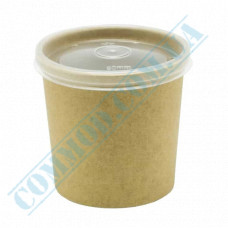 Paper containers | 480ml | Ǿ=95mm h=105mm | Craft | with PP lid | for hot and cold meals| 25 pieces per pack