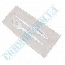 Set | Fork and Knife individually wrapped | white | 100 pcs
