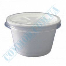 Polystyrene foam containers 330ml for cold and hot dishes white with a translucent lid 50 pieces per pack