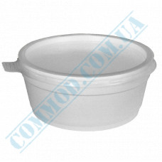 Round containers made of foam polystyrene 340ml for cold and hot dishes white with a plastic translucent lid 50 pieces per pack