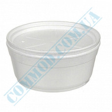 Round containers made of foam polystyrene 340ml for cold and hot dishes white with a lid made of expanded polystyrene 50 pieces per pack