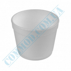 Round containers made of foam polystyrene 360ml for cold and hot dishes white without lid 50 pieces per pack
