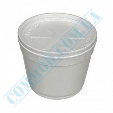 Round containers made of foam polystyrene 360ml for cold and hot dishes white with a lid made of expanded polystyrene 50 pieces per pack