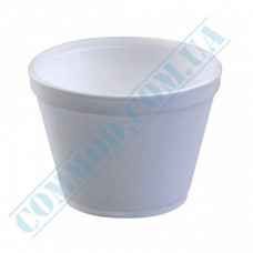 Round containers made of foam polystyrene 450ml for cold and hot dishes white without lid 50 pieces per pack