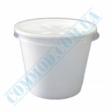 Round containers made of expanded polystyrene 450ml for cold and hot dishes white with a plastic lid 50 pieces per pack