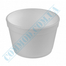 Round containers made of expanded polystyrene 500ml for cold and hot dishes white without lid 50 pieces per pack
