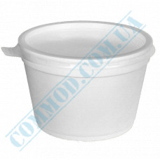 Round containers made of expanded polystyrene 500ml for cold and hot dishes white with a plastic lid 50 pieces per pack
