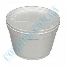 Round containers made of expanded polystyrene 500ml for cold and hot dishes white with a lid made of expanded polystyrene 50 pieces per pack