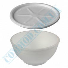 Round containers made of expanded polystyrene 500ml for cold and hot dishes white Bowl with a lid made of expanded polystyrene 50 pieces per pack