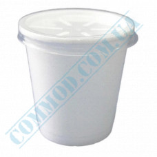 Round containers made of foam polystyrene 650ml for cold and hot dishes white with a plastic lid 50 pieces per pack