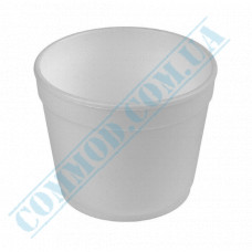 Round containers made of expanded polystyrene 680ml for cold and hot dishes white without lid 50 pieces per pack