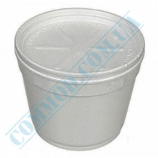 Round containers made of expanded polystyrene 680ml for cold and hot dishes white with a lid made of expanded polystyrene 50 pieces per pack