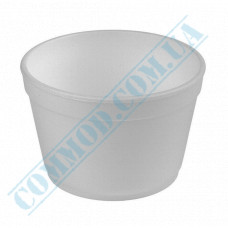 Round containers made of foamed polystyrene 910ml for cold and hot dishes white without lid 50 pieces per pack