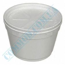 Round containers made of foamed polystyrene 910ml for cold and hot dishes white with a lid made of expanded polystyrene 50 pieces per pack