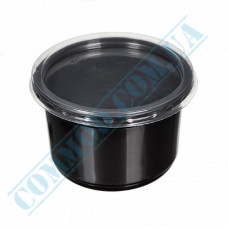Plastic containers   350ml   Ǿ=115mm h=59mm   black   with lid   for hot meals   50 pieces per pack