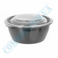 Plastic containers   375ml   Ǿ=144mm h=47mm   black   with lid   for hot meals   50 pieces per pack