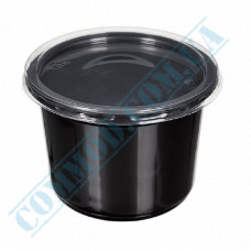 Plastic containers   500ml   Ǿ=115mm h=83mm   black   with lid   for hot meals   50 pieces per pack