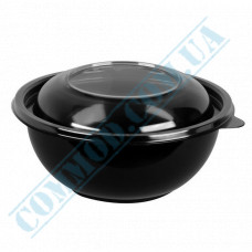 Plastic containers   500ml   Ǿ=140mm h=62mm   black   with lid   for hot meals   50 pieces per pack