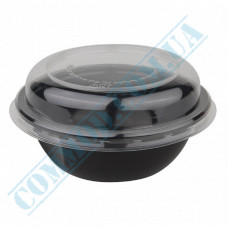 Plastic containers   600ml   Ǿ=150mm h=56mm   black   with lid   for hot meals   90 pieces per pack