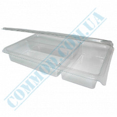 Plastic containers   for sushi   220*135*40mm   transparent   with lid   into 3 sections   art. 105-3   50 pieces per pack