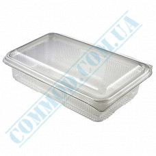 Plastic containers   for sushi   220*135*40mm   transparent   with lid   for 1 section   art. 105   50 pieces per pack