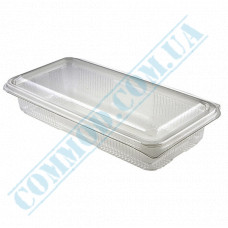 Plastic containers   for sushi   190*85*40mm   transparent   with lid   for 1 section   art. 108-300   100 pieces per pack