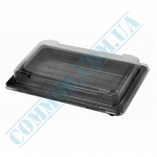 Sushi plastic black containers 215*135*40mm with a transparent lid 100 pieces
